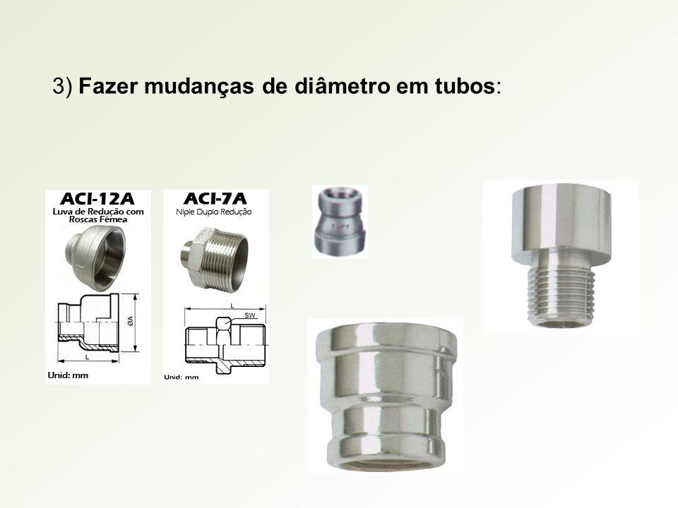 3) Fazer mudanças de diâmetro em tubos: