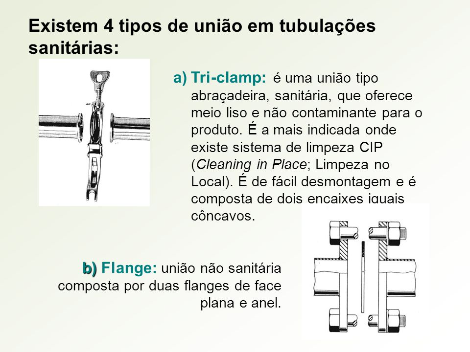 Existem 4 tipos de união em tubulações sanitárias: a)Tri-clamp: é uma união tipo abraçadeira, sanitária, que oferece meio liso e não contaminante para