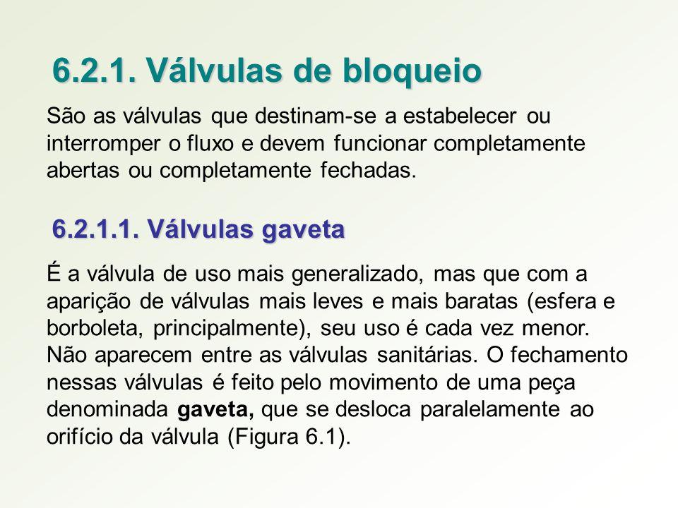 6.2.1. Válvulas de bloqueio São as válvulas que destinam-se a estabelecer ou interromper o fluxo e devem funcionar completamente abertas ou completame