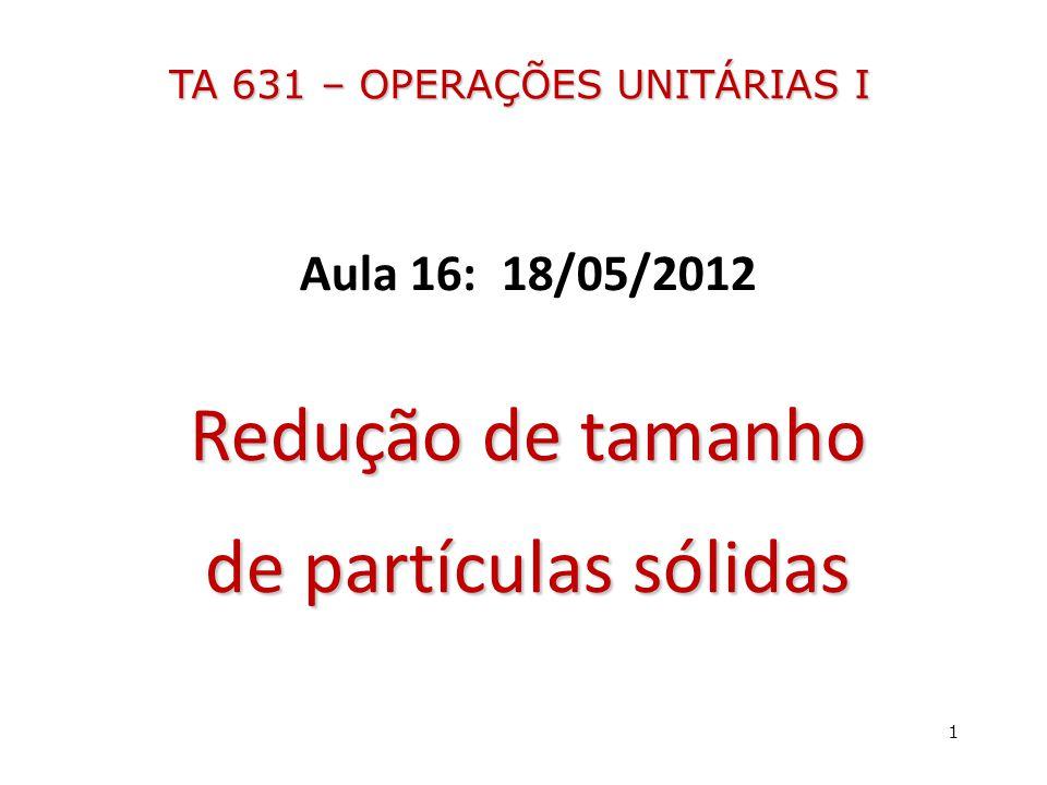 TA 631 – OPERAÇÕES UNITÁRIAS I Aula 16: 18/05/2012 Redução de tamanho de partículas sólidas 1