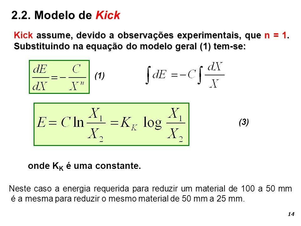 (3) assume, devido a observações experimentais, que n = 1. Substituindo na equação do modelo geral (1) tem-se: Kick assume, devido a observações exper