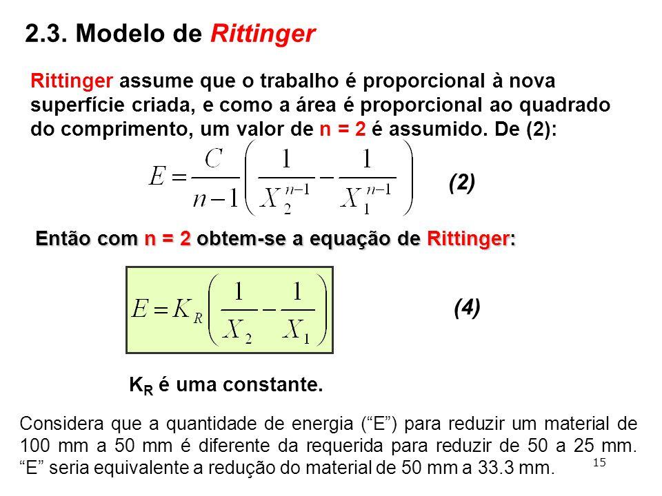 """Então com n = 2 obtem-se a equação de Rittinger: (4) K R é uma constante. Considera que a quantidade de energia (""""E"""") para reduzir um material de 100"""