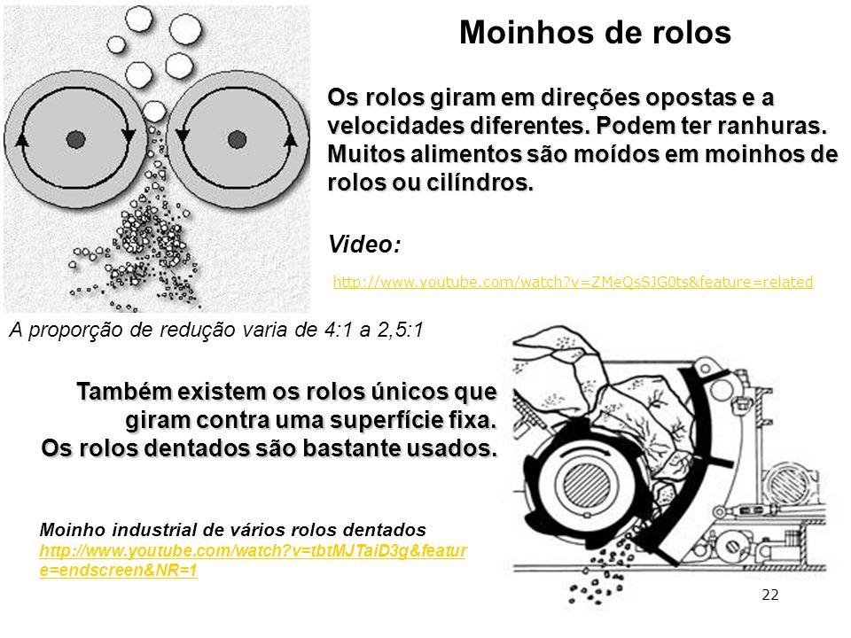 Moinhos de rolos Os rolos giram em direções opostas e a velocidades diferentes. Podem ter ranhuras. Muitos alimentos são moídos em moinhos de rolos ou