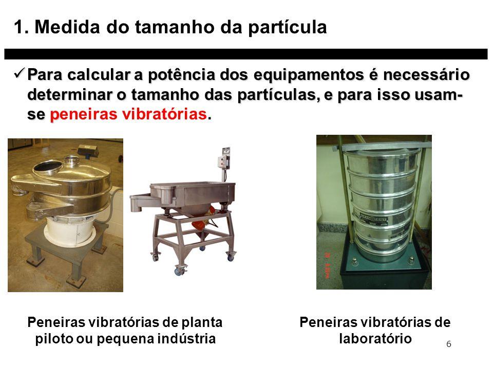 1. Medida do tamanho da partícula Para calcular a potência dos equipamentos é necessário determinar o tamanho das partículas, e para isso usam- se p P