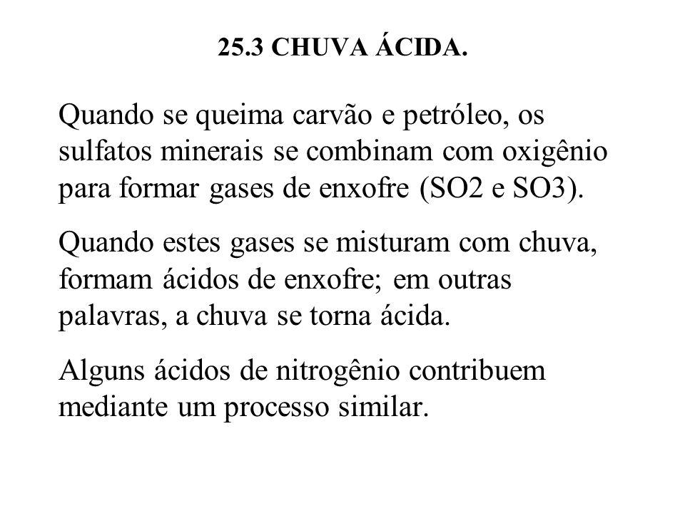 25.3 CHUVA ÁCIDA. Quando se queima carvão e petróleo, os sulfatos minerais se combinam com oxigênio para formar gases de enxofre (SO2 e SO3). Quando e