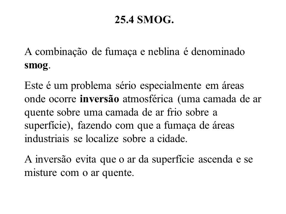 25.4 SMOG. A combinação de fumaça e neblina é denominado smog. Este é um problema sério especialmente em áreas onde ocorre inversão atmosférica (uma c