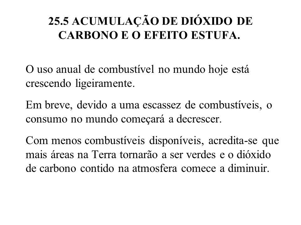 25.5 ACUMULAÇÃO DE DIÓXIDO DE CARBONO E O EFEITO ESTUFA. O uso anual de combustível no mundo hoje está crescendo ligeiramente. Em breve, devido a uma