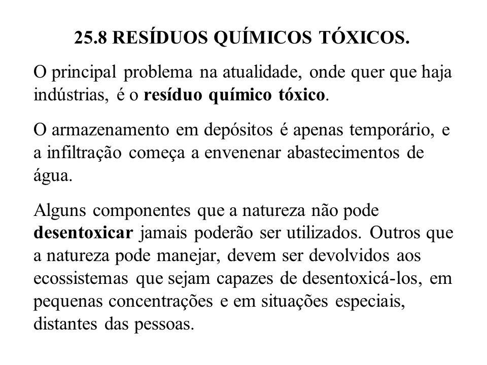 25.8 RESÍDUOS QUÍMICOS TÓXICOS. O principal problema na atualidade, onde quer que haja indústrias, é o resíduo químico tóxico. O armazenamento em depó