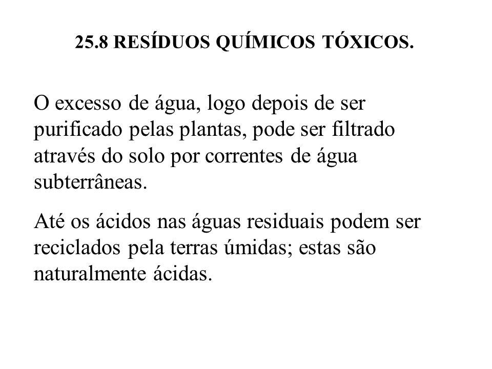 25.8 RESÍDUOS QUÍMICOS TÓXICOS. O excesso de água, logo depois de ser purificado pelas plantas, pode ser filtrado através do solo por correntes de águ