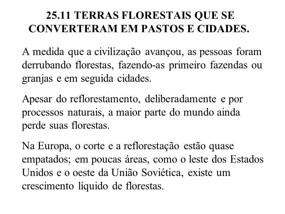 25.11 TERRAS FLORESTAIS QUE SE CONVERTERAM EM PASTOS E CIDADES. A medida que a civilização avançou, as pessoas foram derrubando florestas, fazendo-as
