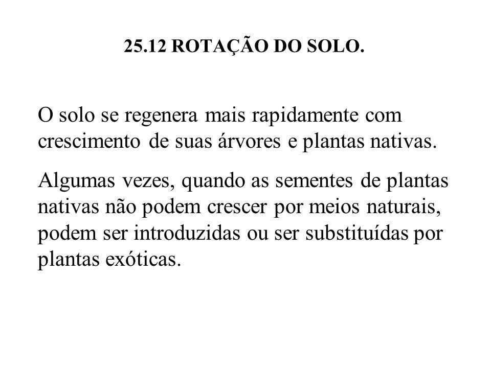 25.12 ROTAÇÃO DO SOLO. O solo se regenera mais rapidamente com crescimento de suas árvores e plantas nativas. Algumas vezes, quando as sementes de pla