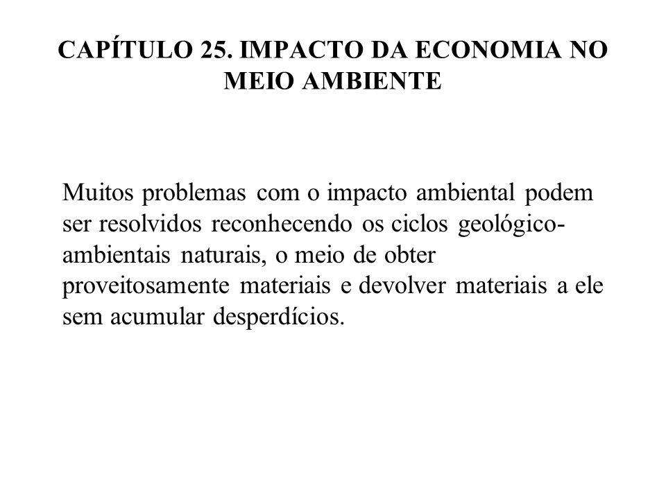 CAPÍTULO 25. IMPACTO DA ECONOMIA NO MEIO AMBIENTE Muitos problemas com o impacto ambiental podem ser resolvidos reconhecendo os ciclos geológico- ambi