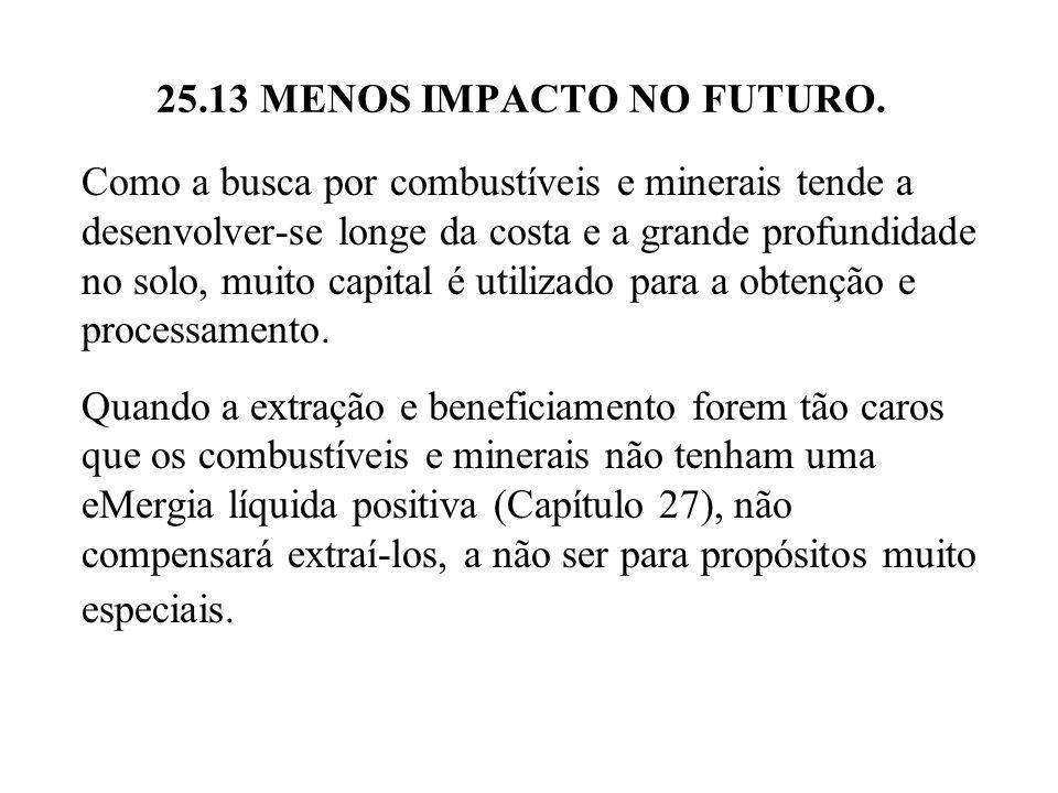 25.13 MENOS IMPACTO NO FUTURO. Como a busca por combustíveis e minerais tende a desenvolver-se longe da costa e a grande profundidade no solo, muito c