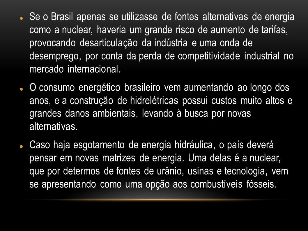 Se o Brasil apenas se utilizasse de fontes alternativas de energia como a nuclear, haveria um grande risco de aumento de tarifas, provocando desarticu