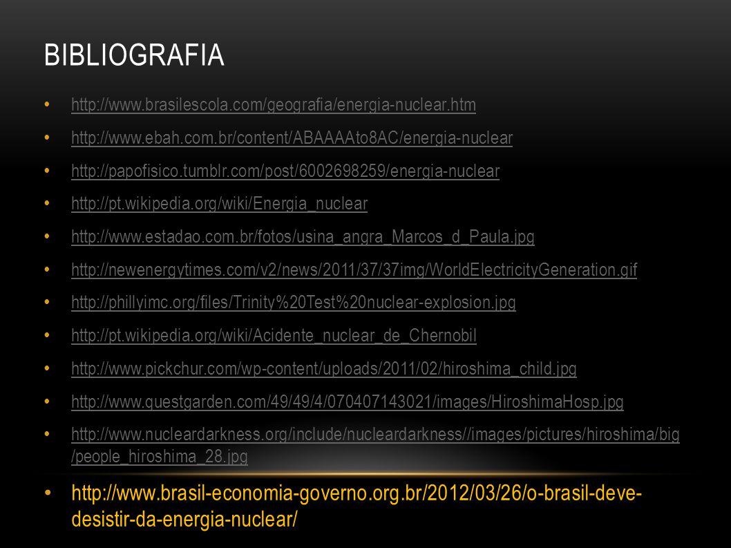 BIBLIOGRAFIA http://www.brasilescola.com/geografia/energia-nuclear.htm http://www.ebah.com.br/content/ABAAAAto8AC/energia-nuclear http://papofisico.tu