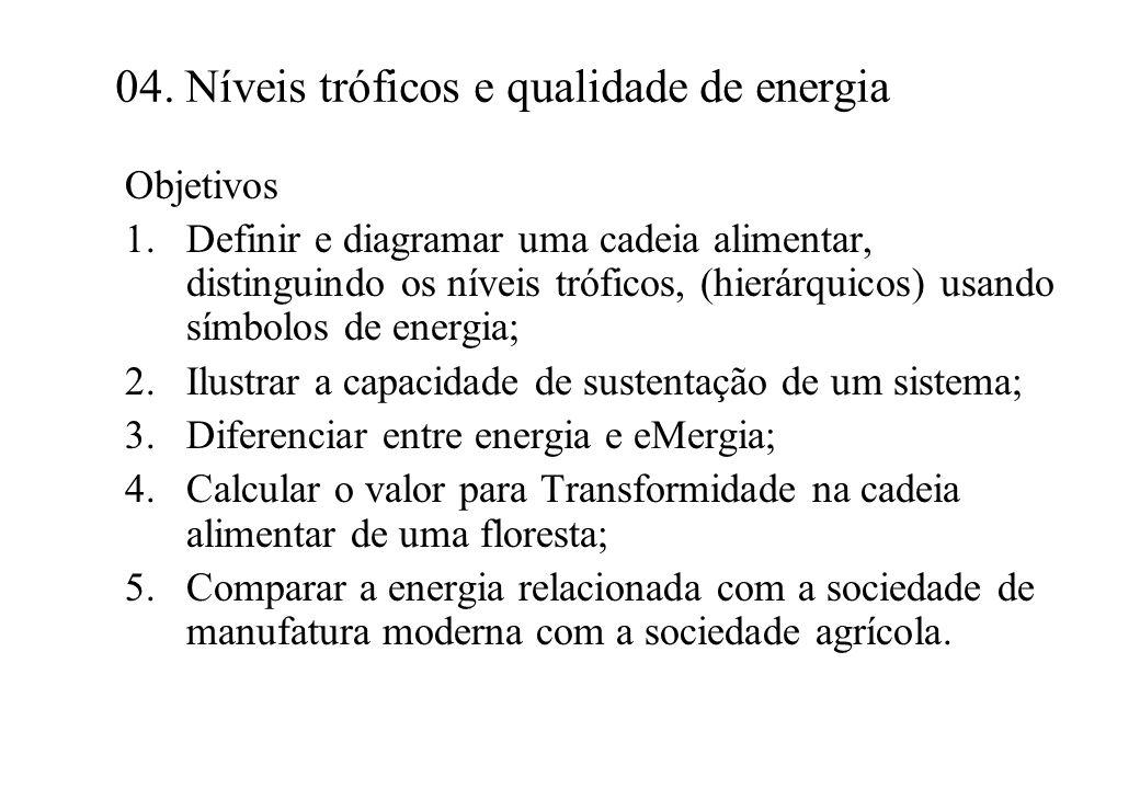 04. Níveis tróficos e qualidade de energia Objetivos 1.Definir e diagramar uma cadeia alimentar, distinguindo os níveis tróficos, (hierárquicos) usand