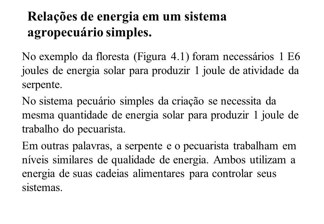 Relações de energia em um sistema agropecuário simples. No exemplo da floresta (Figura 4.1) foram necessários 1 E6 joules de energia solar para produz