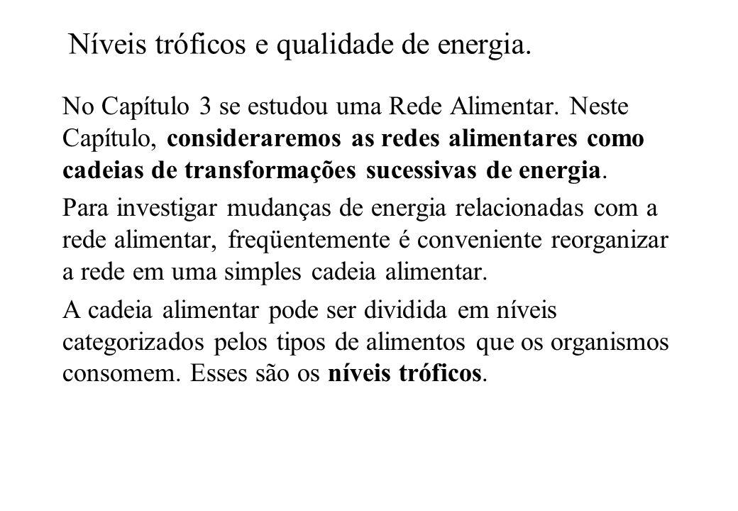 Níveis tróficos e qualidade de energia. No Capítulo 3 se estudou uma Rede Alimentar. Neste Capítulo, consideraremos as redes alimentares como cadeias