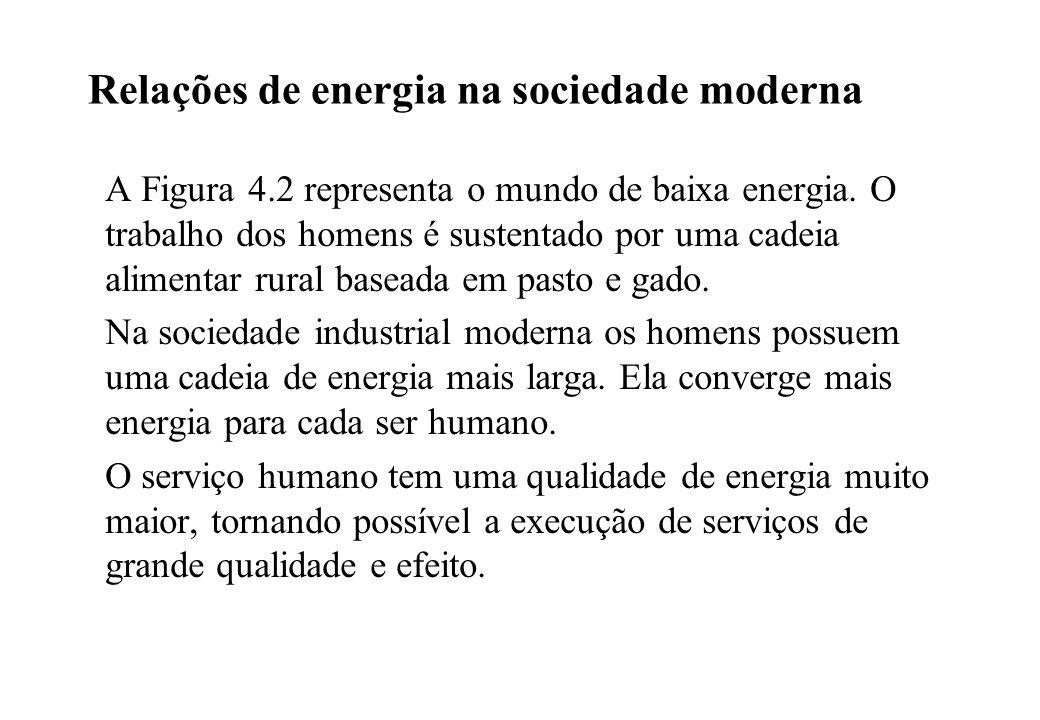 Relações de energia na sociedade moderna A Figura 4.2 representa o mundo de baixa energia. O trabalho dos homens é sustentado por uma cadeia alimentar