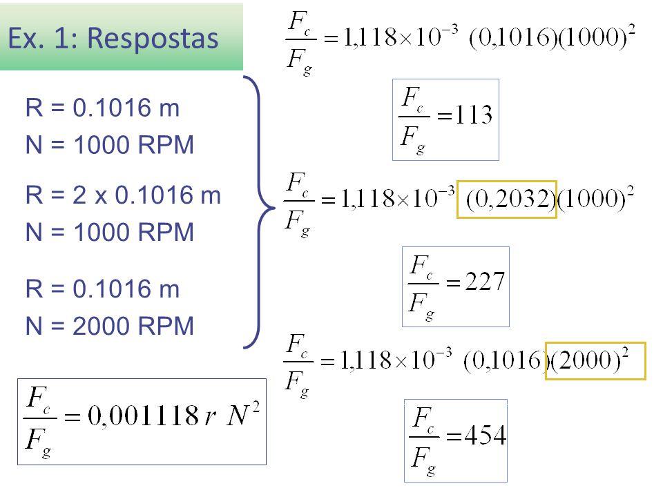 Ex. 1: Respostas R = 0.1016 m N = 1000 RPM R = 2 x 0.1016 m N = 1000 RPM R = 0.1016 m N = 2000 RPM