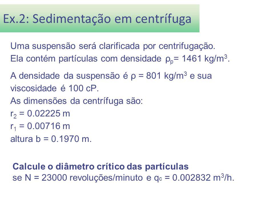 Uma suspensão será clarificada por centrifugação. Ela contém partículas com densidade ρ p = 1461 kg/m 3. A densidade da suspensão é ρ = 801 kg/m 3 e s