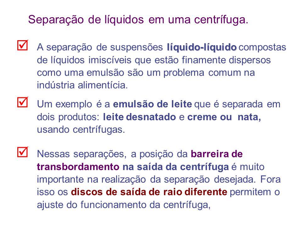 Separação de líquidos em uma centrífuga. líquido-líquido  A separação de suspensões líquido-líquido compostas de líquidos imiscíveis que estão finame