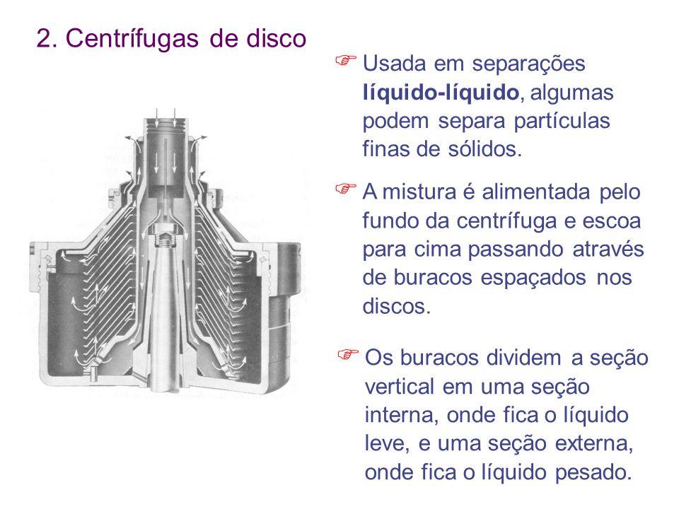 2. Centrífugas de disco  Usada em separações líquido-líquido, algumas podem separa partículas finas de sólidos.  A mistura é alimentada pelo fundo d