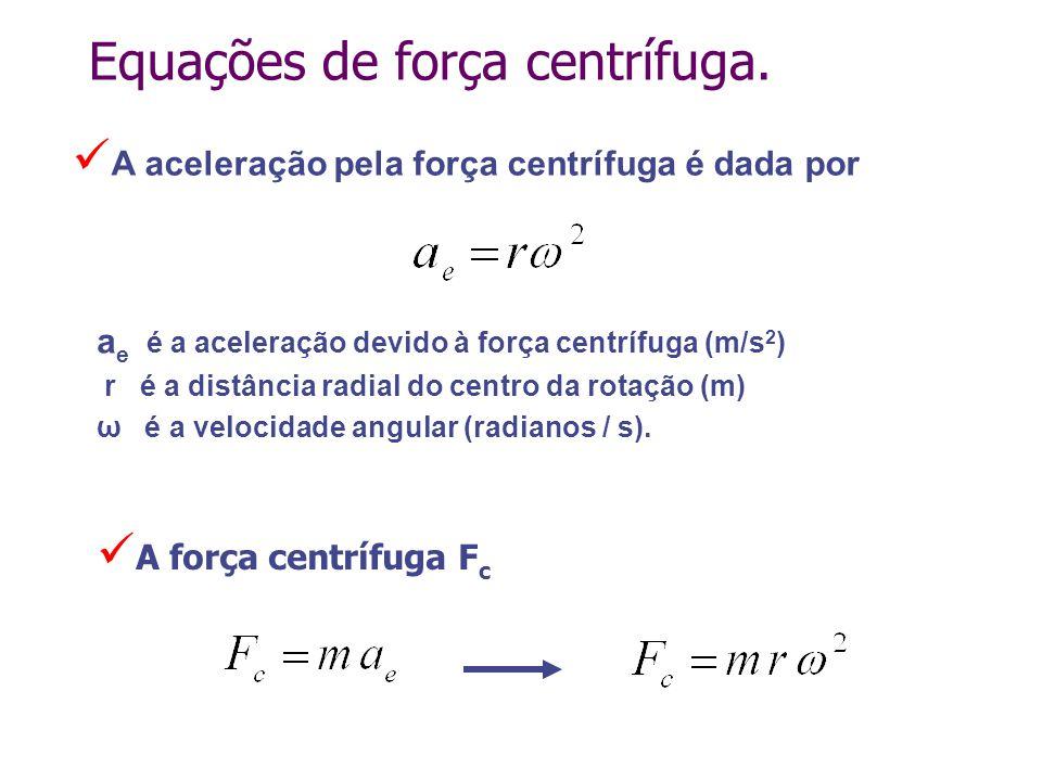 Equações de força centrífuga. a e é a aceleração devido à força centrífuga (m/s 2 ) r é a distância radial do centro da rotação (m) ω é a velocidade a