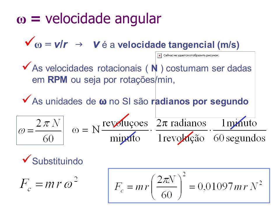 ω = velocidade angular ω = v/r  v é a velocidade tangencial (m/s) Substituindo As unidades de ω no SI são radianos por segundo As velocidades rotaci