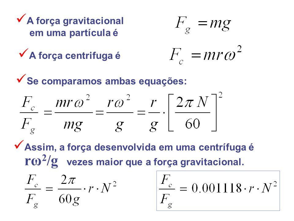 Assim, a força desenvolvida em uma centrífuga é rω 2 /g vezes maior que a força gravitacional. A força gravitacional em uma partícula é Se comparamos