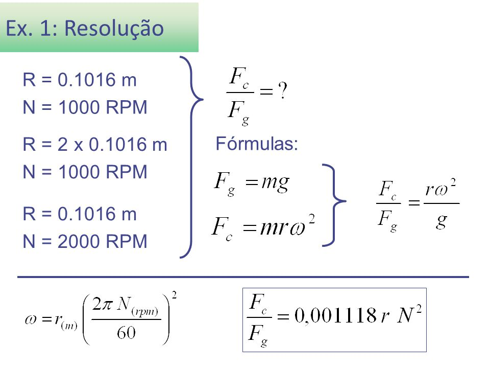 Ex. 1: Resolução R = 0.1016 m N = 1000 RPM Fórmulas: R = 2 x 0.1016 m N = 1000 RPM R = 0.1016 m N = 2000 RPM