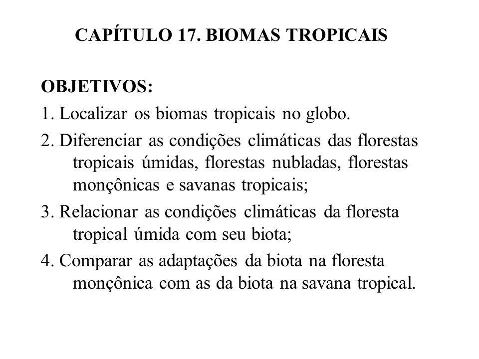 CAPÍTULO 17. BIOMAS TROPICAIS OBJETIVOS: 1. Localizar os biomas tropicais no globo. 2. Diferenciar as condições climáticas das florestas tropicais úmi