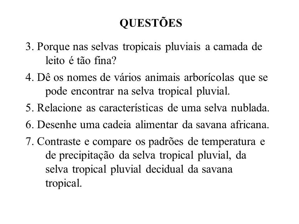 QUESTÕES 3. Porque nas selvas tropicais pluviais a camada de leito é tão fina? 4. Dê os nomes de vários animais arborícolas que se pode encontrar na s