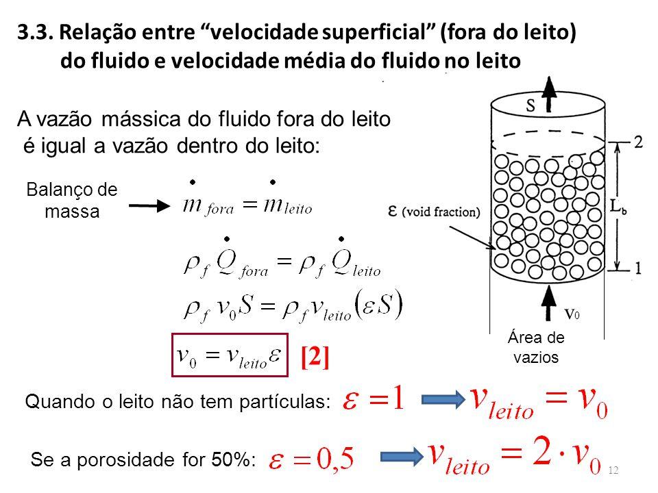 """v0v0 A vazão mássica do fluido fora do leito é igual a vazão dentro do leito: Balanço de massa 3.3. Relação entre """"velocidade superficial"""" (fora do le"""