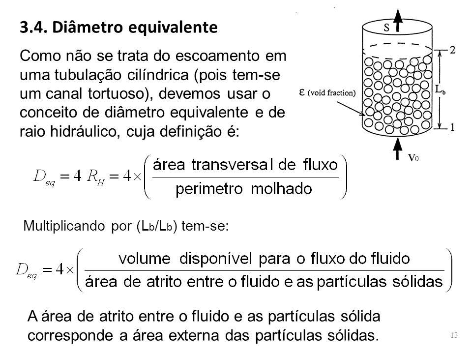 v0v0 3.4. Diâmetro equivalente Como não se trata do escoamento em uma tubulação cilíndrica (pois tem-se um canal tortuoso), devemos usar o conceito de