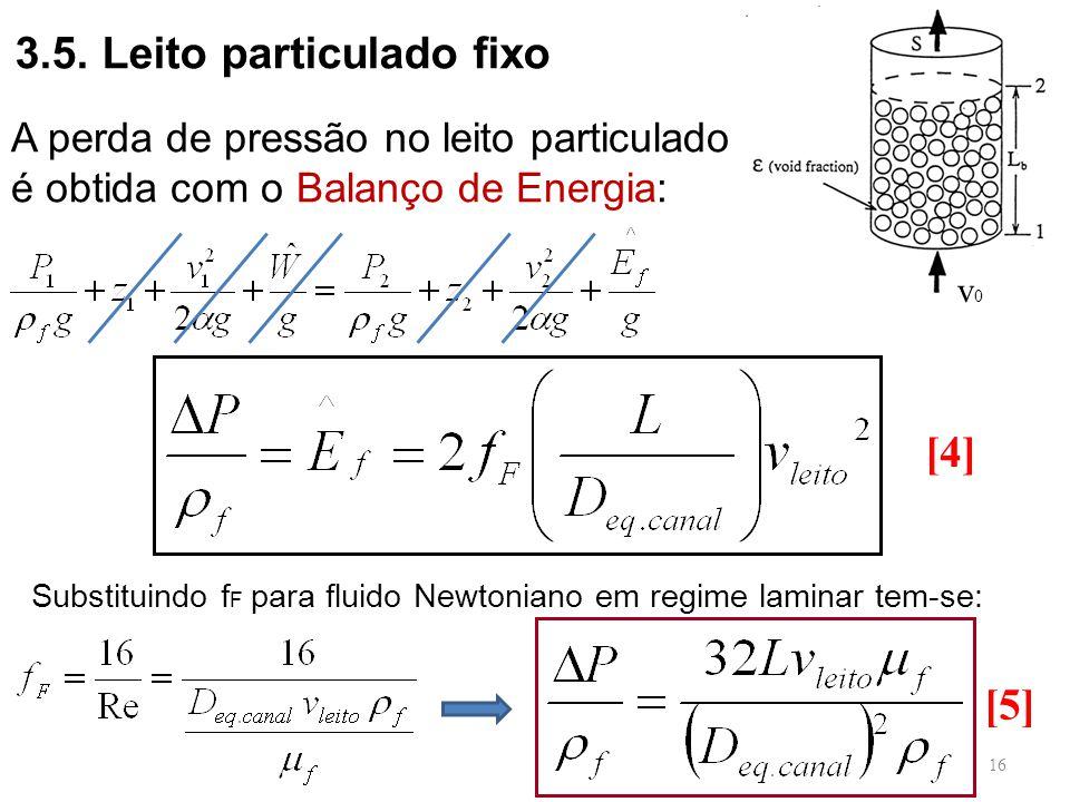 v0v0 3.5. Leito particulado fixo A perda de pressão no leito particulado é obtida com o Balanço de Energia: Substituindo f F para fluido Newtoniano em