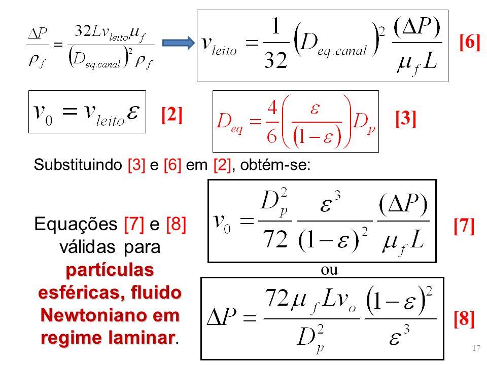Substituindo [3] e [6] em [2], obtém-se: [6] [2] [3] ou [7] [8] partículas esféricas, fluido Newtoniano em regime laminar Equações [7] e [8] válidas p