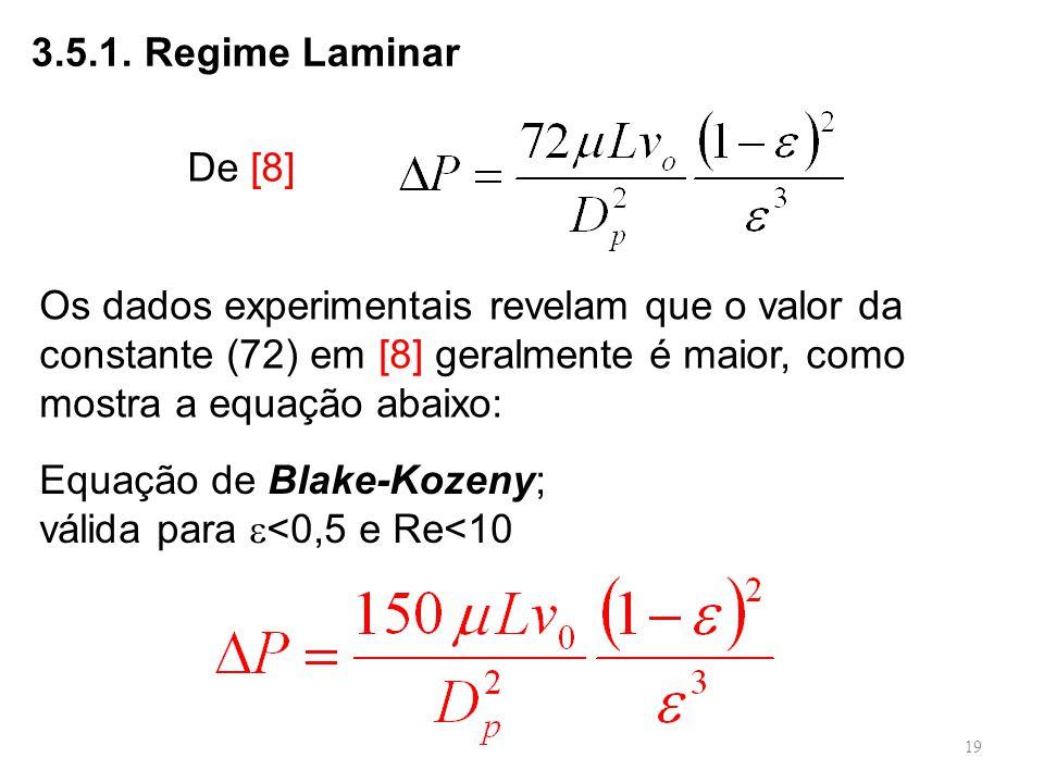 Os dados experimentais revelam que o valor da constante (72) em [8] geralmente é maior, como mostra a equação abaixo: Equação de Blake-Kozeny; válida para  <0,5 e Re<10 De [8] 3.5.1.