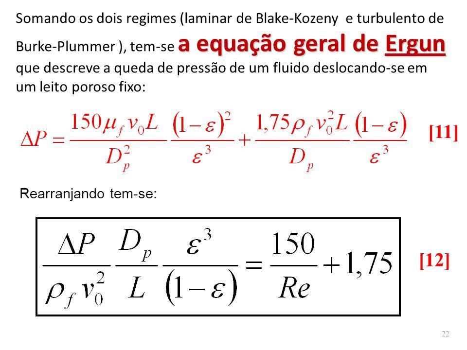 a equação geral de Ergun Somando os dois regimes (laminar de Blake-Kozeny e turbulento de Burke-Plummer ), tem-se a equação geral de Ergun que descreve a queda de pressão de um fluido deslocando-se em um leito poroso fixo: Rearranjando tem-se: [11] [12] 22