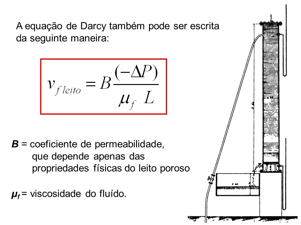 3 A equação de Darcy também pode ser escrita da seguinte maneira: B = coeficiente de permeabilidade, que depende apenas das propriedades físicas do le