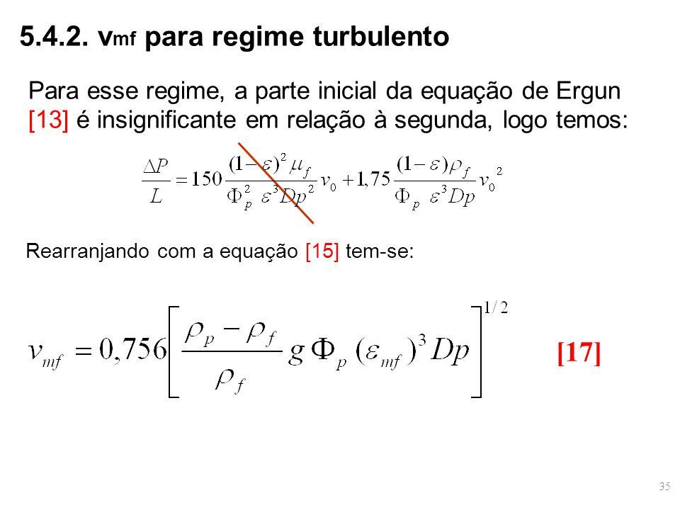 Para esse regime, a parte inicial da equação de Ergun [13] é insignificante em relação à segunda, logo temos: 5.4.2. v mf para regime turbulento [17]