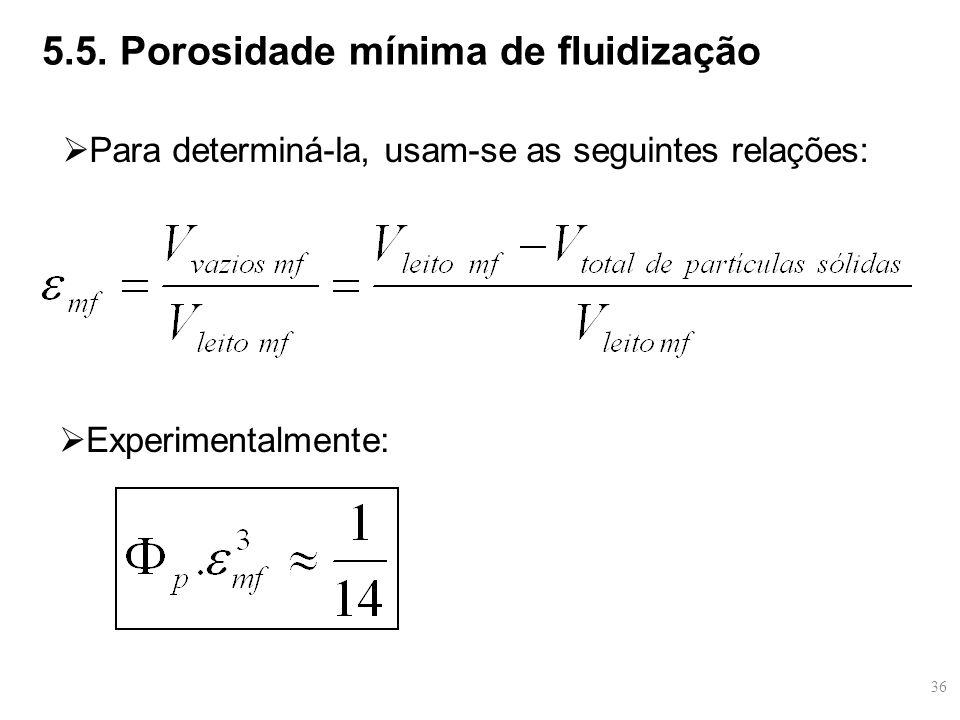  Para determiná-la, usam-se as seguintes relações:  Experimentalmente: 5.5. Porosidade mínima de fluidização 36