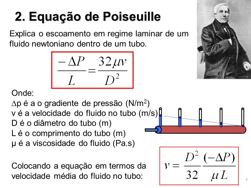 2. Equação de Poiseuille Explica o escoamento em regime laminar de um fluido newtoniano dentro de um tubo. Colocando a equação em termos da velocidade