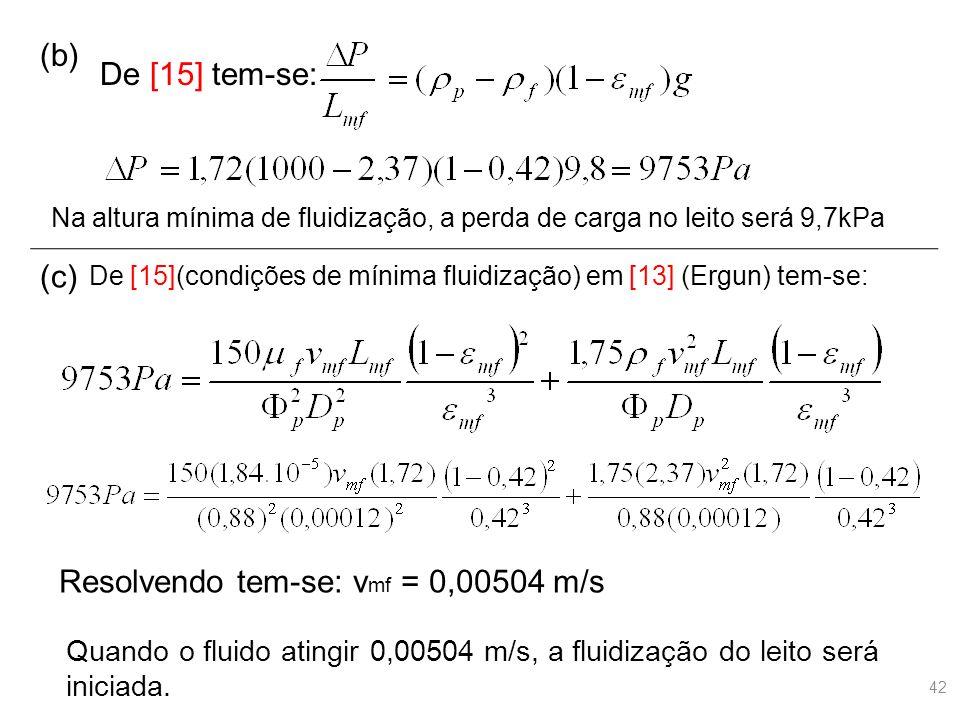 (b) De [15] tem-se: (c) Na altura mínima de fluidização, a perda de carga no leito será 9,7kPa De [15](condições de mínima fluidização) em [13] (Ergun) tem-se: Resolvendo tem-se: v mf = 0,00504 m/s Quando o fluido atingir 0,00504 m/s, a fluidização do leito será iniciada.