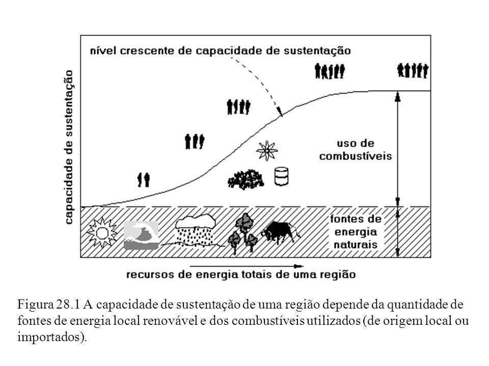 Figura 28.1 A capacidade de sustentação de uma região depende da quantidade de fontes de energia local renovável e dos combustíveis utilizados (de ori