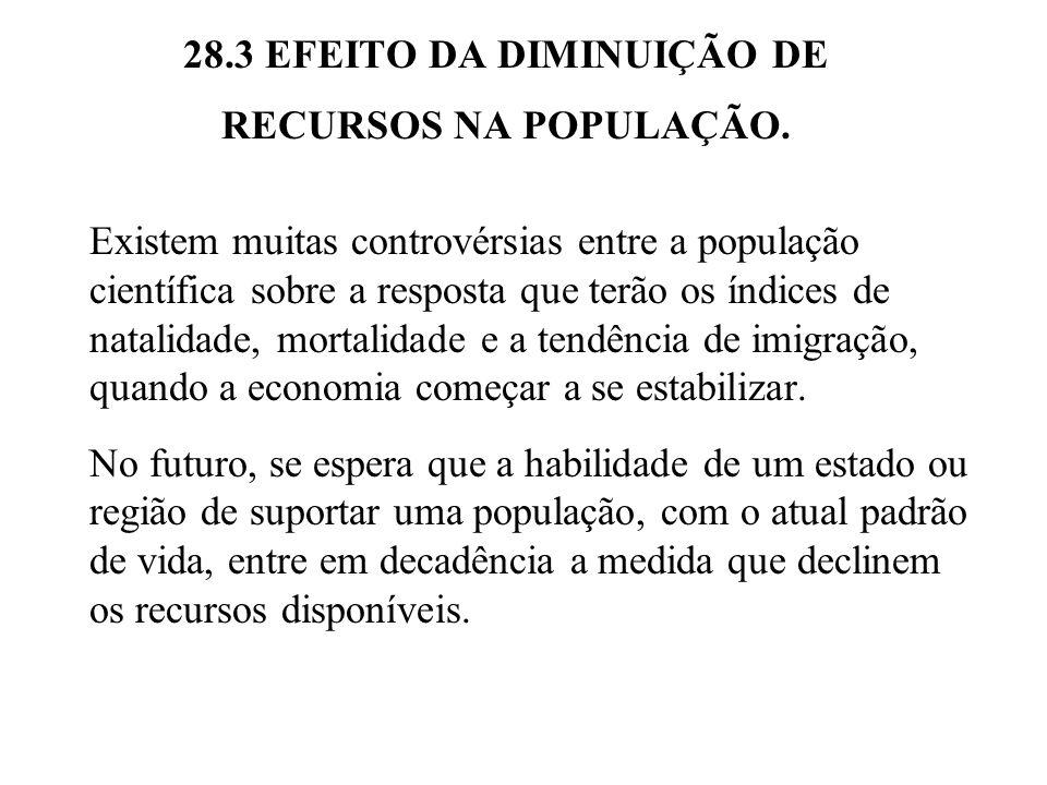28.3 EFEITO DA DIMINUIÇÃO DE RECURSOS NA POPULAÇÃO. Existem muitas controvérsias entre a população científica sobre a resposta que terão os índices de