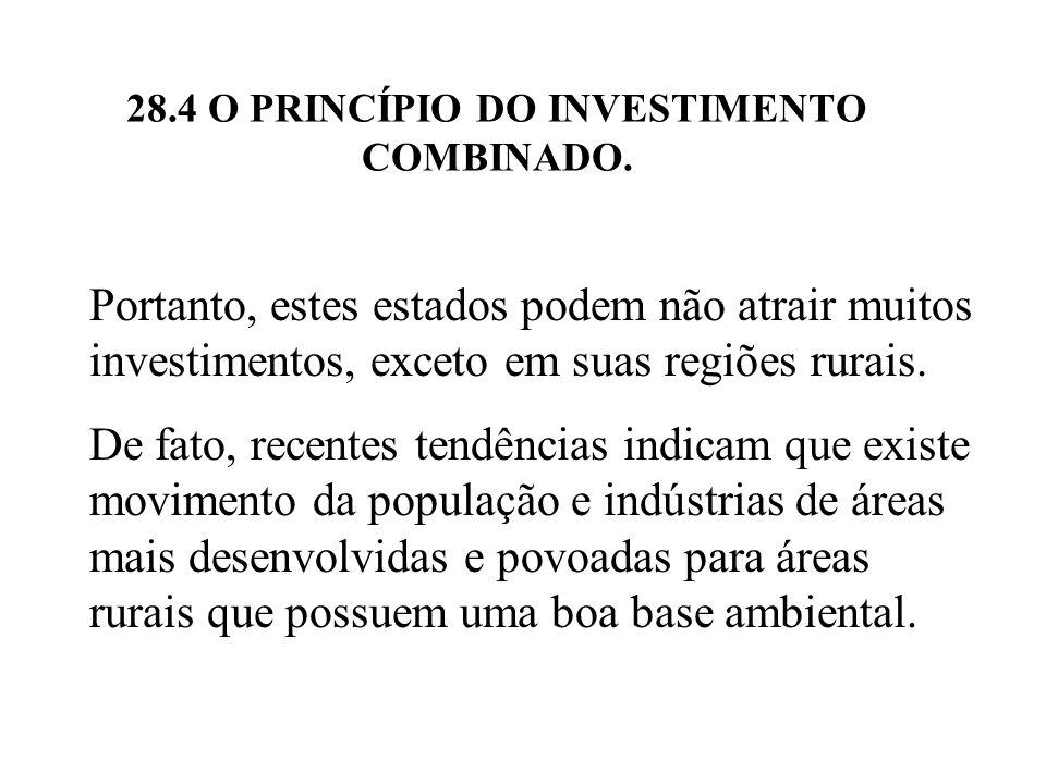 28.4 O PRINCÍPIO DO INVESTIMENTO COMBINADO. Portanto, estes estados podem não atrair muitos investimentos, exceto em suas regiões rurais. De fato, rec