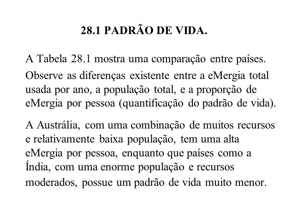 28.1 PADRÃO DE VIDA.Tabela 28.1 Padrão de vida para diferentes países em 1980.