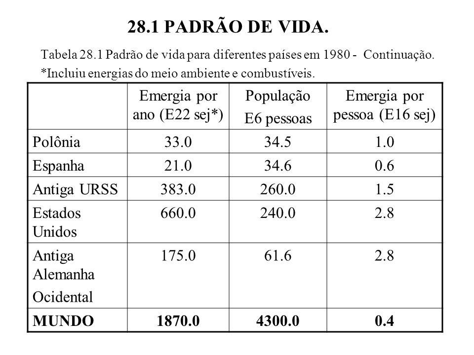 28.1 PADRÃO DE VIDA. Tabela 28.1 Padrão de vida para diferentes países em 1980 - Continuação. *Incluiu energias do meio ambiente e combustíveis. Emerg
