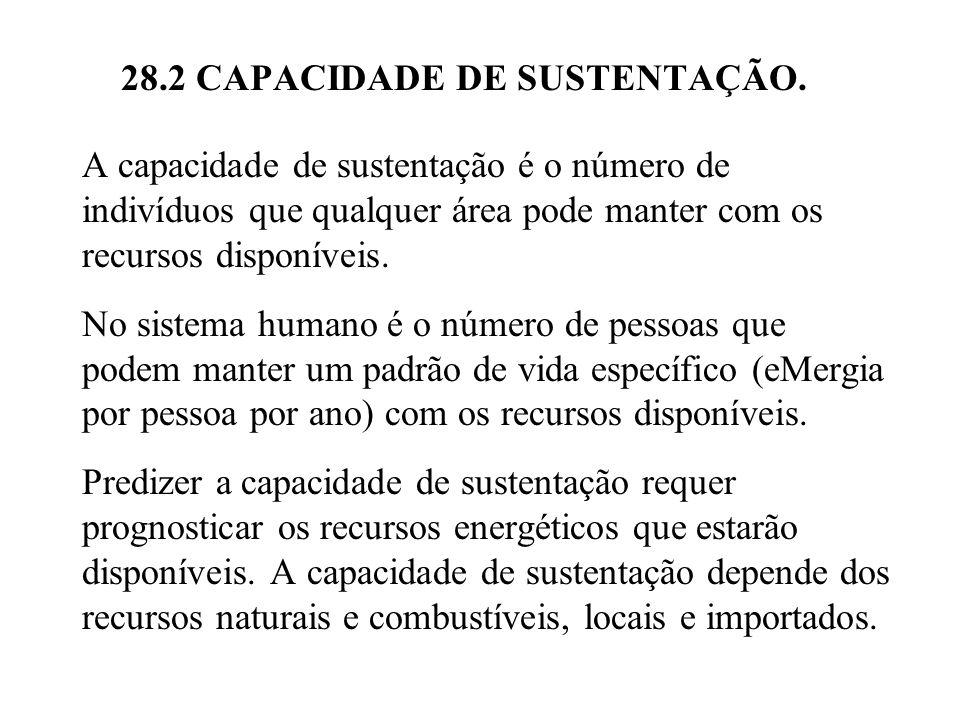 28.2 CAPACIDADE DE SUSTENTAÇÃO. A capacidade de sustentação é o número de indivíduos que qualquer área pode manter com os recursos disponíveis. No sis